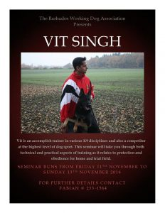 Vit Singh to hold dog training seminar in Barbados
