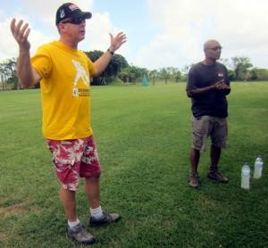Jim Crisp judging BH dog trials in Barbados